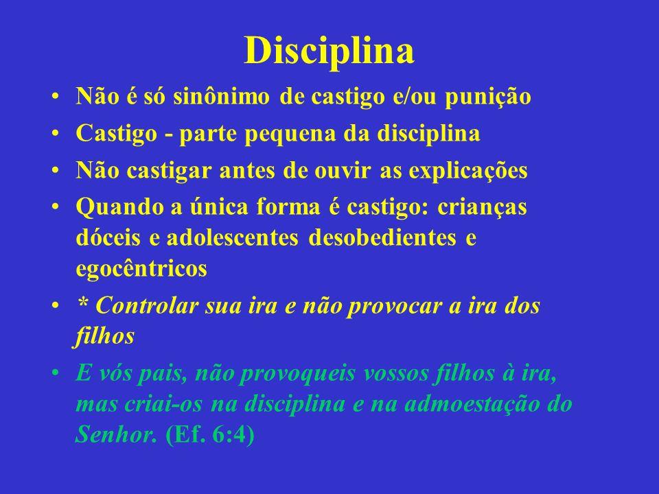 Disciplina Não é só sinônimo de castigo e/ou punição Castigo - parte pequena da disciplina Não castigar antes de ouvir as explicações Quando a única f
