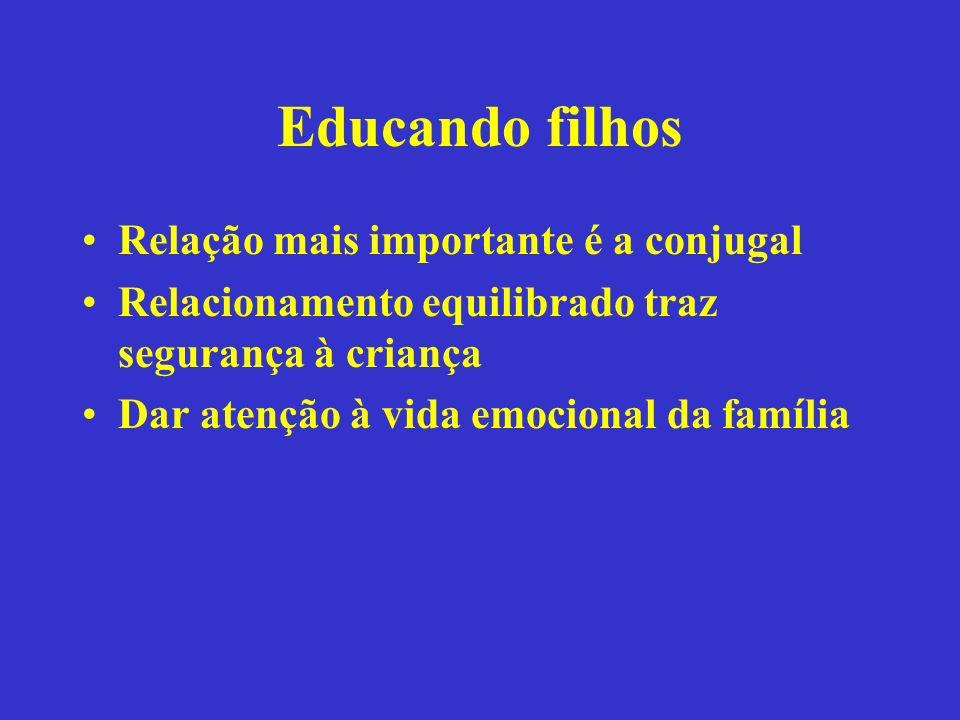 Educando filhos Relação mais importante é a conjugal Relacionamento equilibrado traz segurança à criança Dar atenção à vida emocional da família