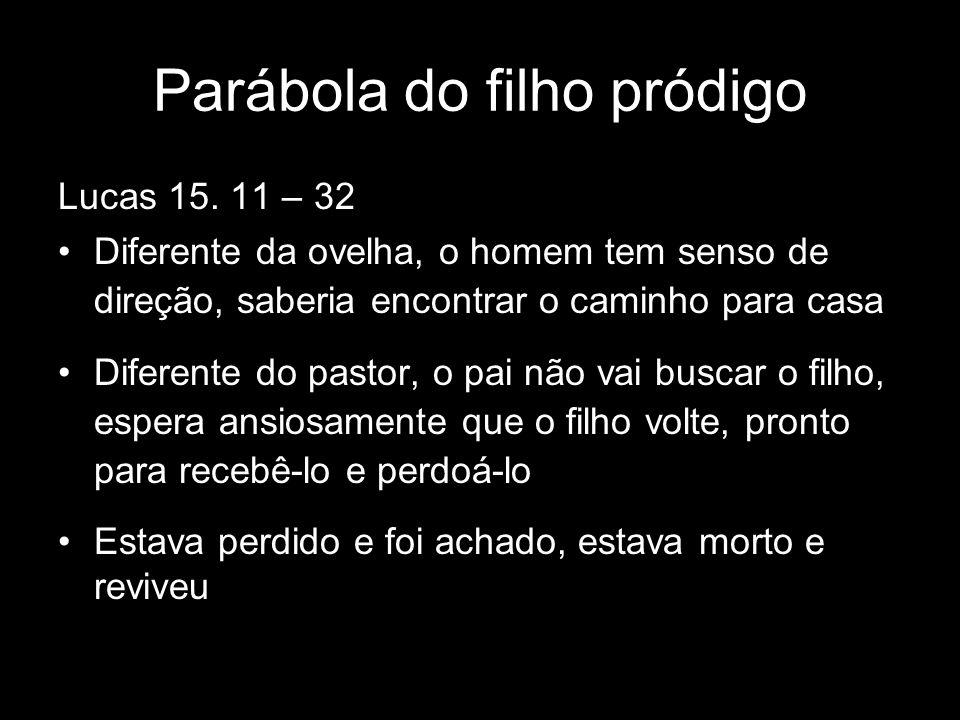 Lucas 15. 11 – 32 Diferente da ovelha, o homem tem senso de direção, saberia encontrar o caminho para casa Diferente do pastor, o pai não vai buscar o