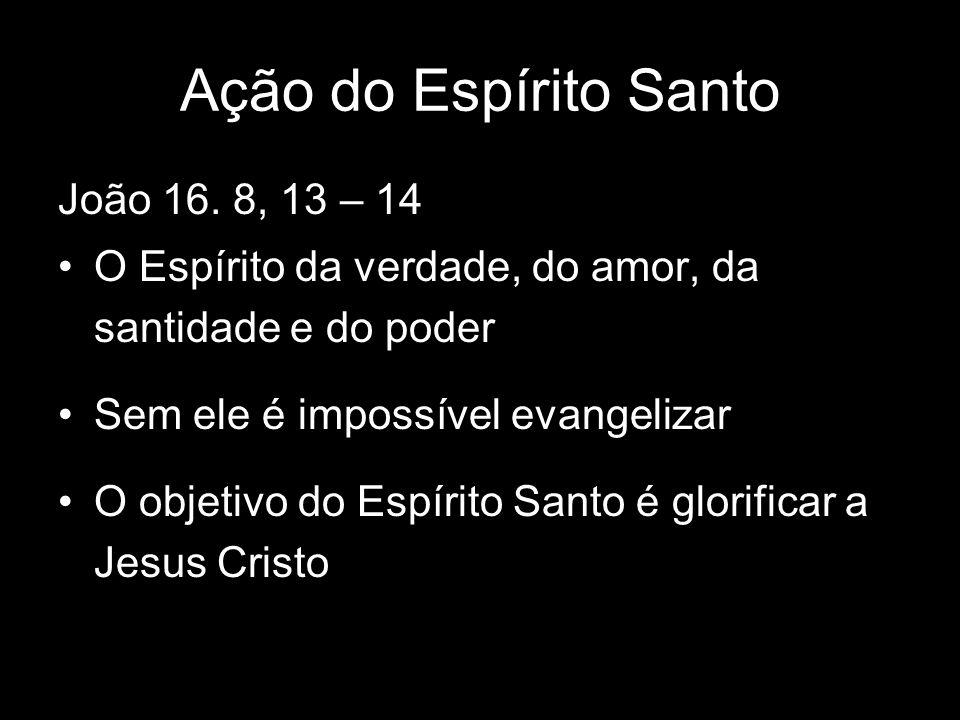 Ação do Espírito Santo João 16. 8, 13 – 14 O Espírito da verdade, do amor, da santidade e do poder Sem ele é impossível evangelizar O objetivo do Espí