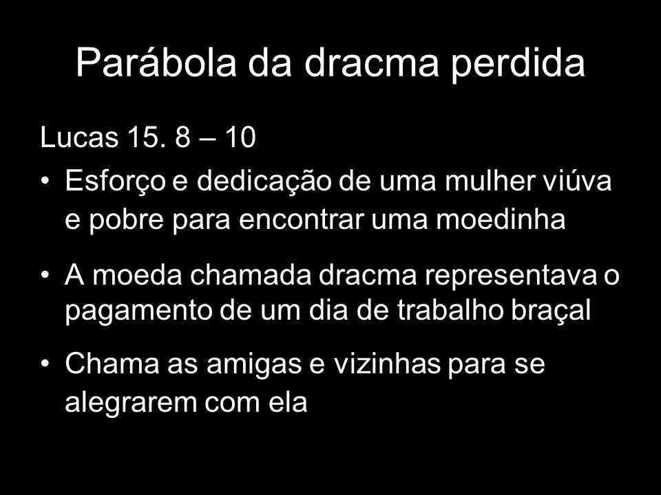 Lucas 15. 8 – 10 Esforço e dedicação de uma mulher viúva e pobre para encontrar uma moedinha A moeda chamada dracma representava o pagamento de um dia