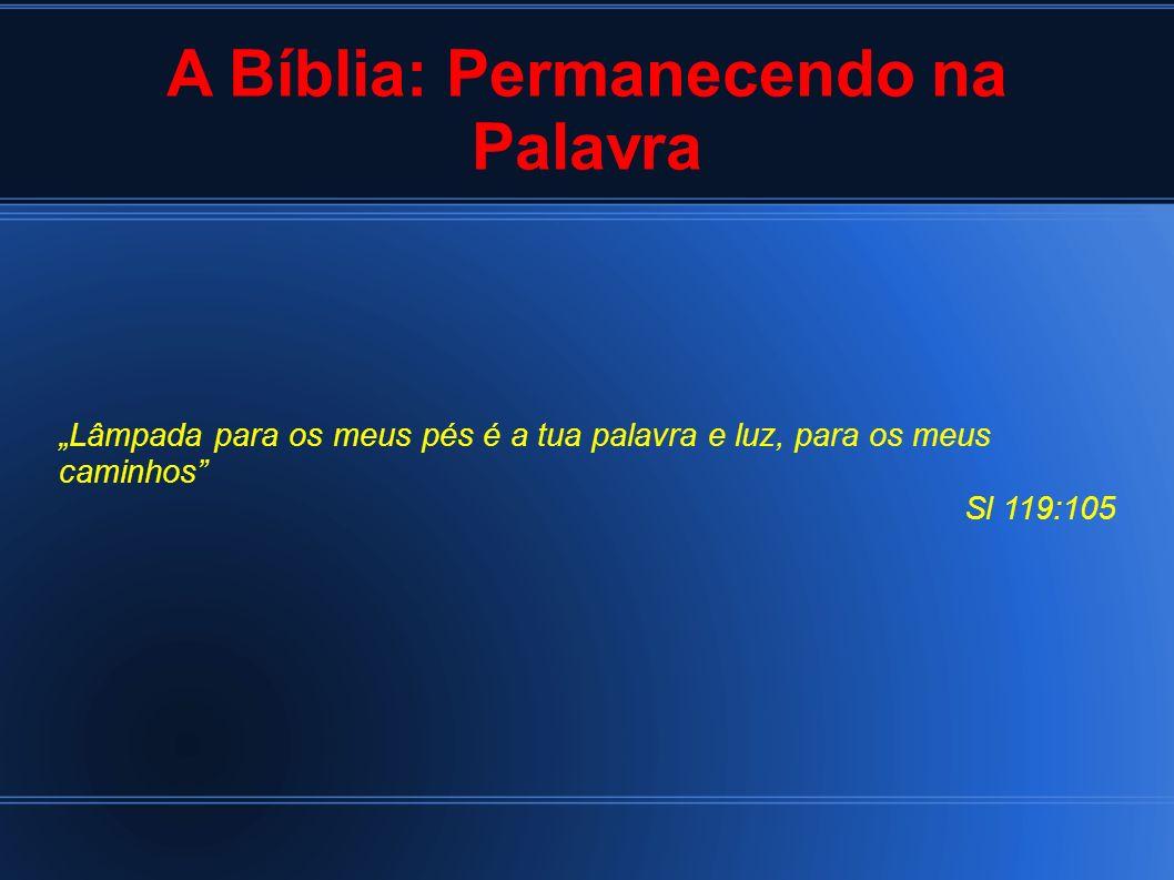 A Bíblia: Permanecendo na Palavra Lâmpada para os meus pés é a tua palavra e luz, para os meus caminhos Sl 119:105