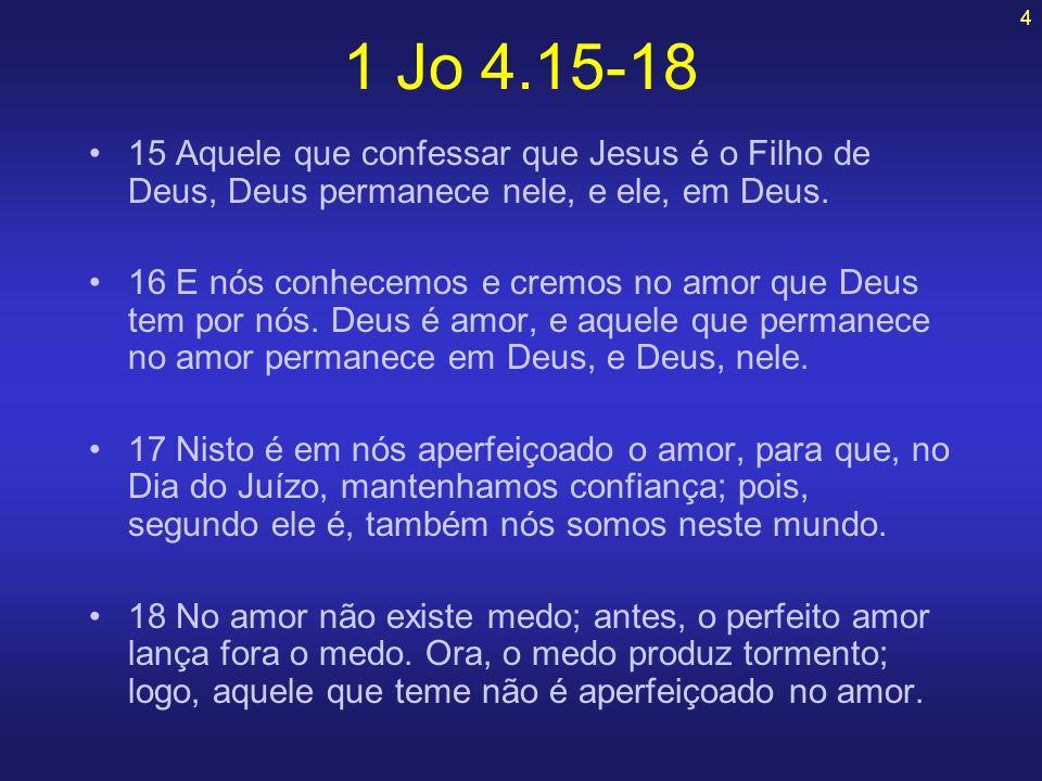 4 15 Aquele que confessar que Jesus é o Filho de Deus, Deus permanece nele, e ele, em Deus. 16 E nós conhecemos e cremos no amor que Deus tem por nós.
