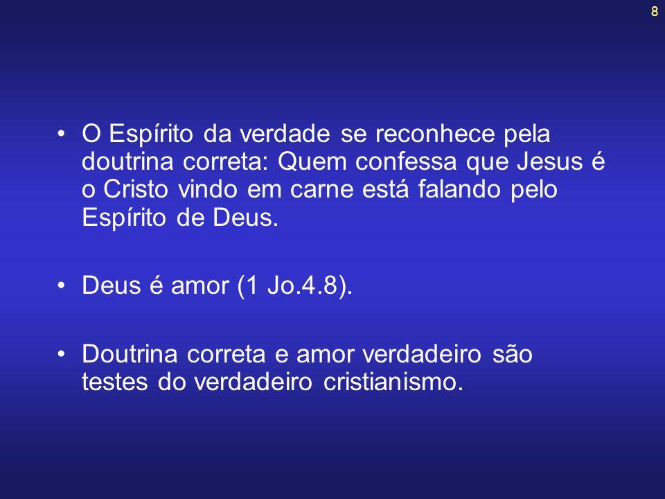 8 O Espírito da verdade se reconhece pela doutrina correta: Quem confessa que Jesus é o Cristo vindo em carne está falando pelo Espírito de Deus. Deus