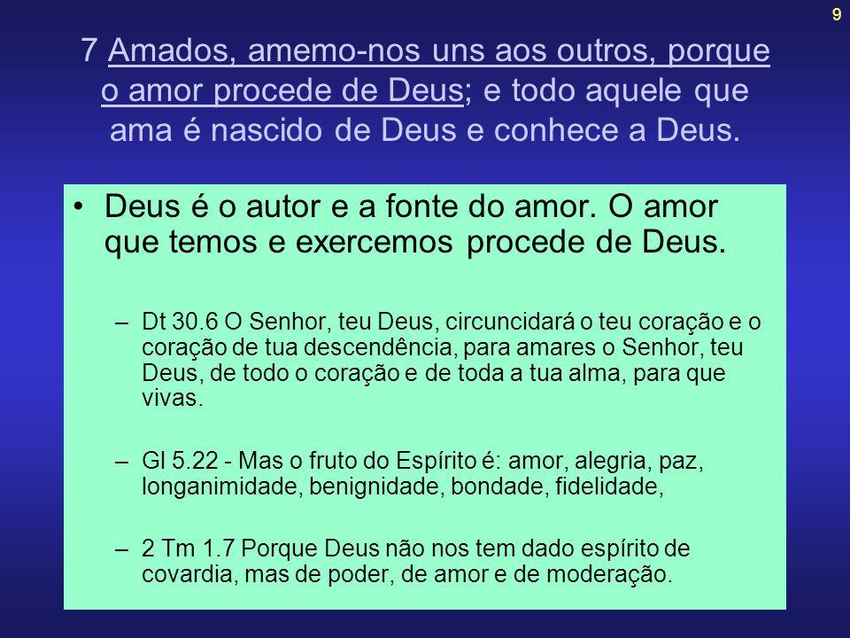 9 7 Amados, amemo-nos uns aos outros, porque o amor procede de Deus; e todo aquele que ama é nascido de Deus e conhece a Deus. Deus é o autor e a font