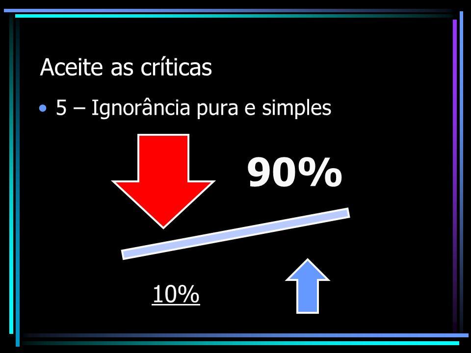 Aceite as críticas 5 – Ignorância pura e simples90%10%