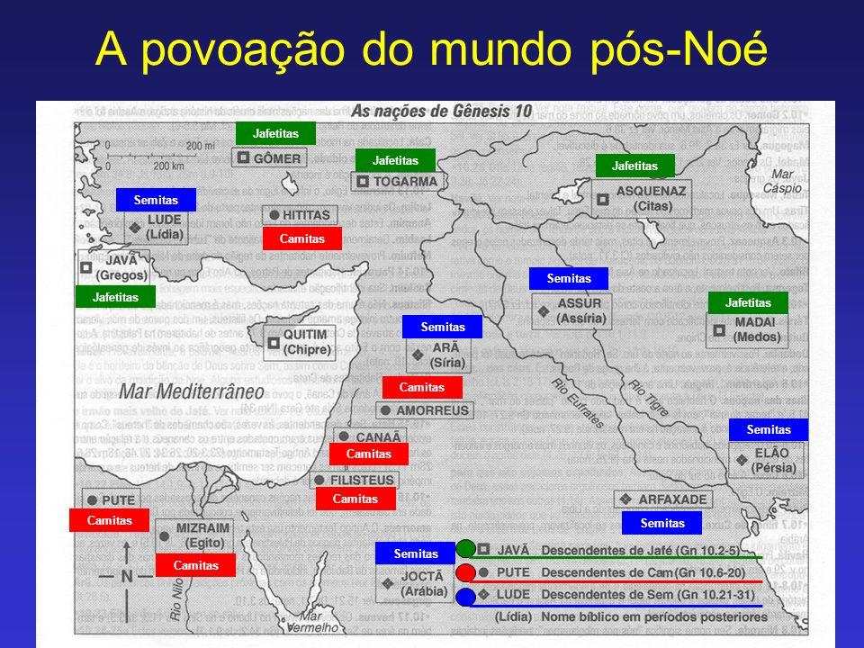 A povoação do mundo pós-Noé Semitas Camitas Jafetitas