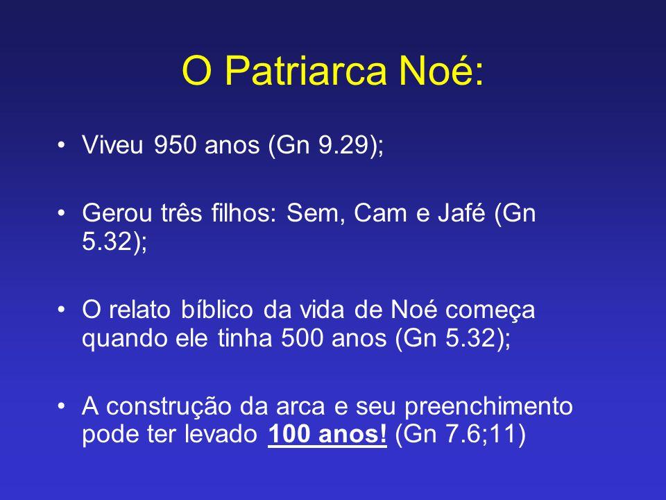 O Patriarca Noé: Viveu 950 anos (Gn 9.29); Gerou três filhos: Sem, Cam e Jafé (Gn 5.32); O relato bíblico da vida de Noé começa quando ele tinha 500 a