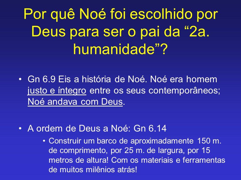 Por quê Noé foi escolhido por Deus para ser o pai da 2a. humanidade? Gn 6.9 Eis a história de Noé. Noé era homem justo e íntegro entre os seus contemp