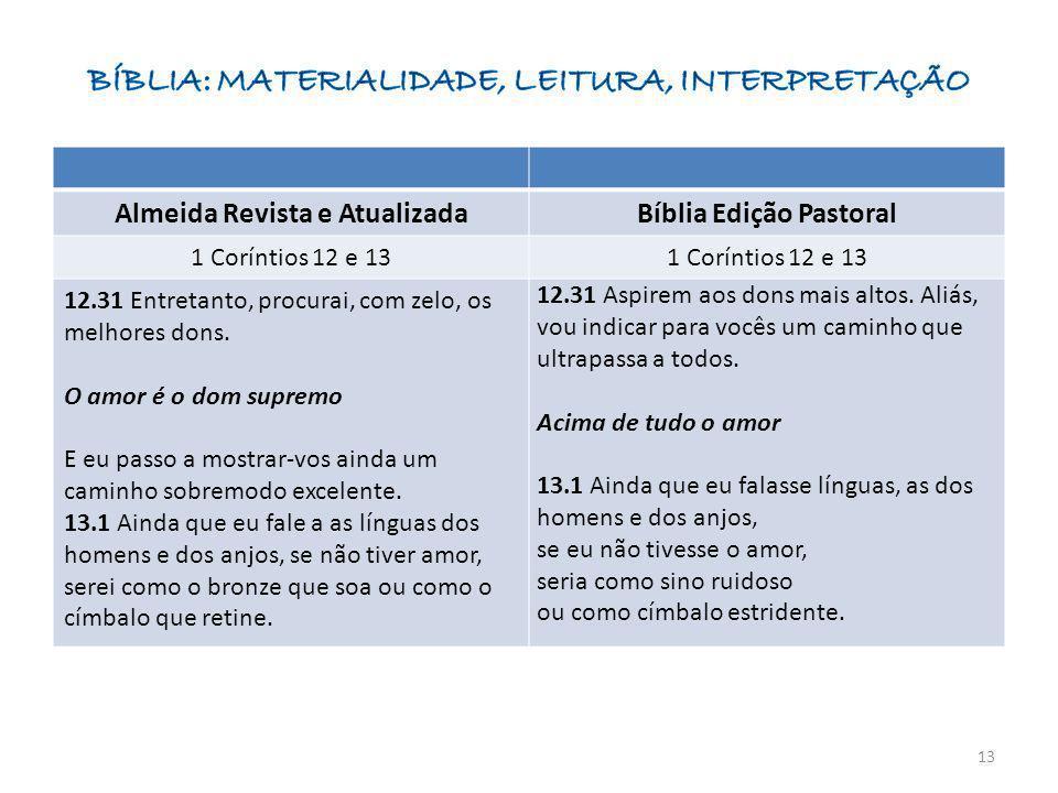 Almeida Revista e AtualizadaBíblia Edição Pastoral 1 Coríntios 12 e 13 12.31 Entretanto, procurai, com zelo, os melhores dons. O amor é o dom supremo