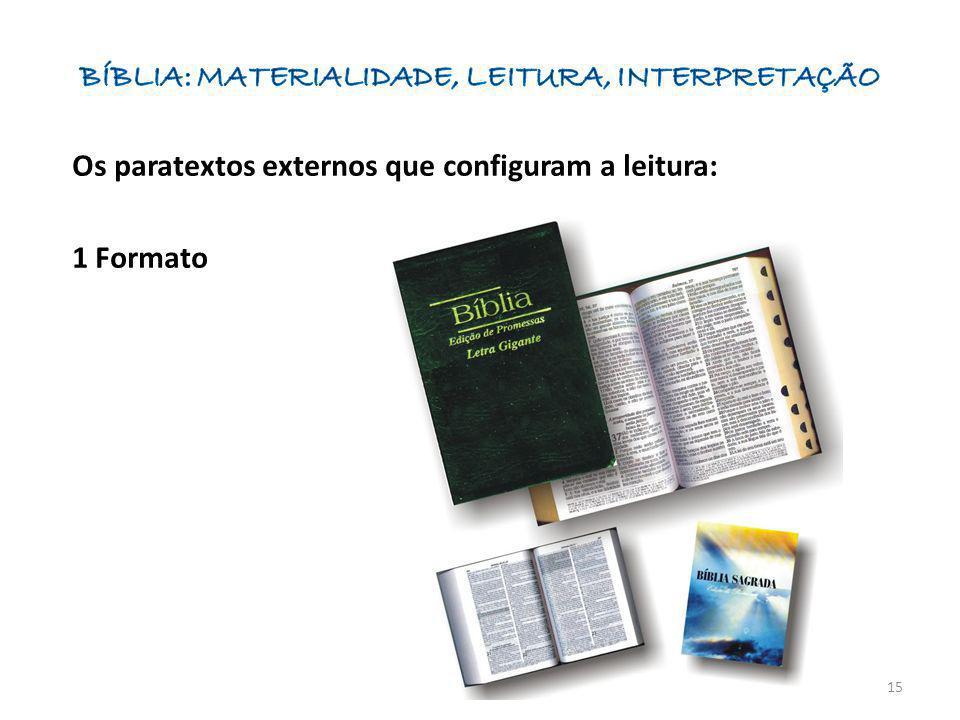 Os paratextos externos que configuram a leitura: 1 Formato 15