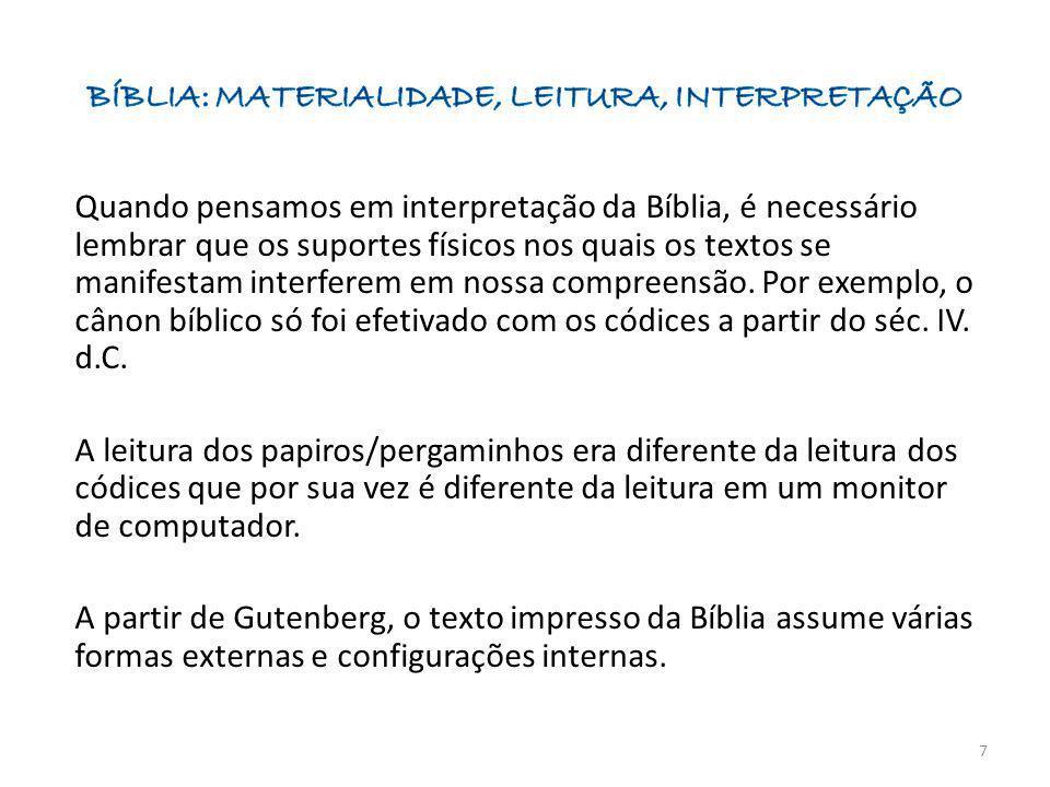 Quando pensamos em interpretação da Bíblia, é necessário lembrar que os suportes físicos nos quais os textos se manifestam interferem em nossa compree