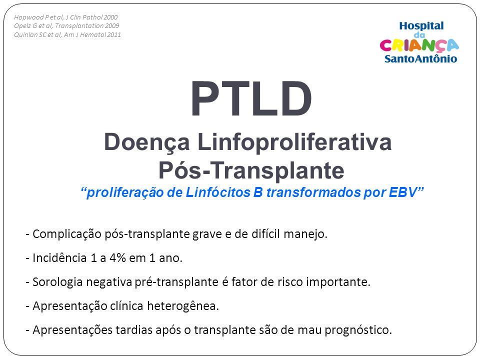 PTLD Doença Linfoproliferativa Pós-Transplante proliferação de Linfócitos B transformados por EBV - Complicação pós-transplante grave e de difícil man