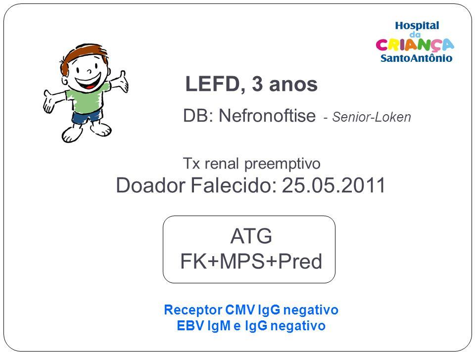 LEFD, 3 anos DB: Nefronoftise - Senior-Loken Tx renal preemptivo Doador Falecido: 25.05.2011 ATG FK+MPS+Pred Receptor CMV IgG negativo EBV IgM e IgG n