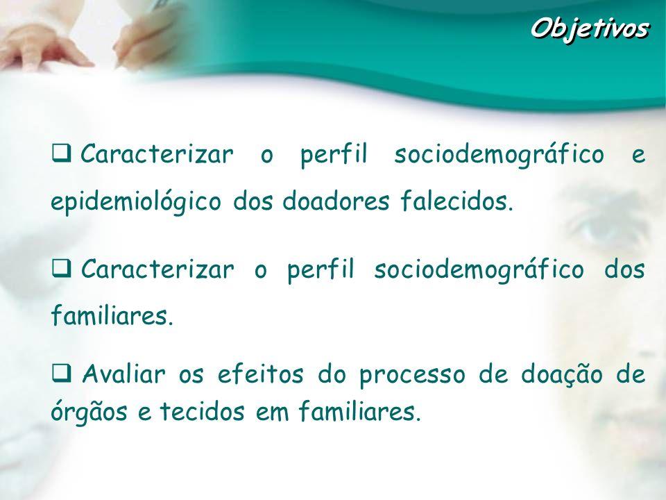 Caracterizar o perfil sociodemográfico e epidemiológico dos doadores falecidos. Caracterizar o perfil sociodemográfico dos familiares. Avaliar os efei
