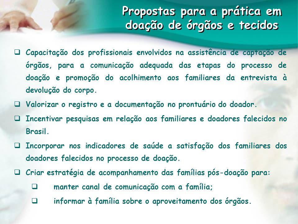 Propostas para a prática em doação de órgãos e tecidos Capacitação dos profissionais envolvidos na assistência de captação de órgãos, para a comunicaç