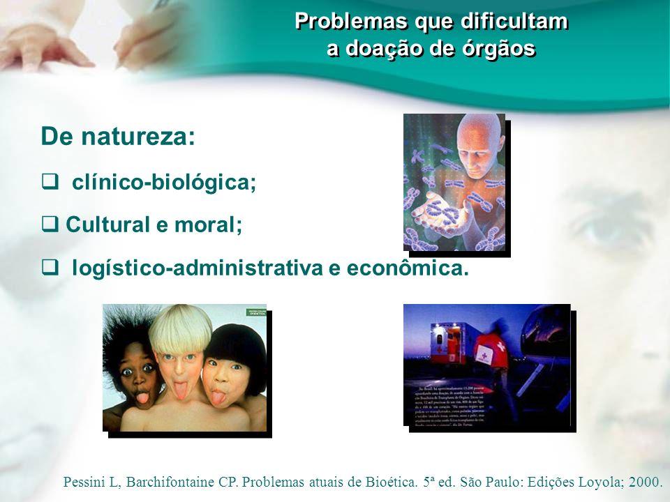 Problemas que dificultam a doação de órgãos De natureza: clínico-biológica; Cultural e moral; logístico-administrativa e econômica. Pessini L, Barchif