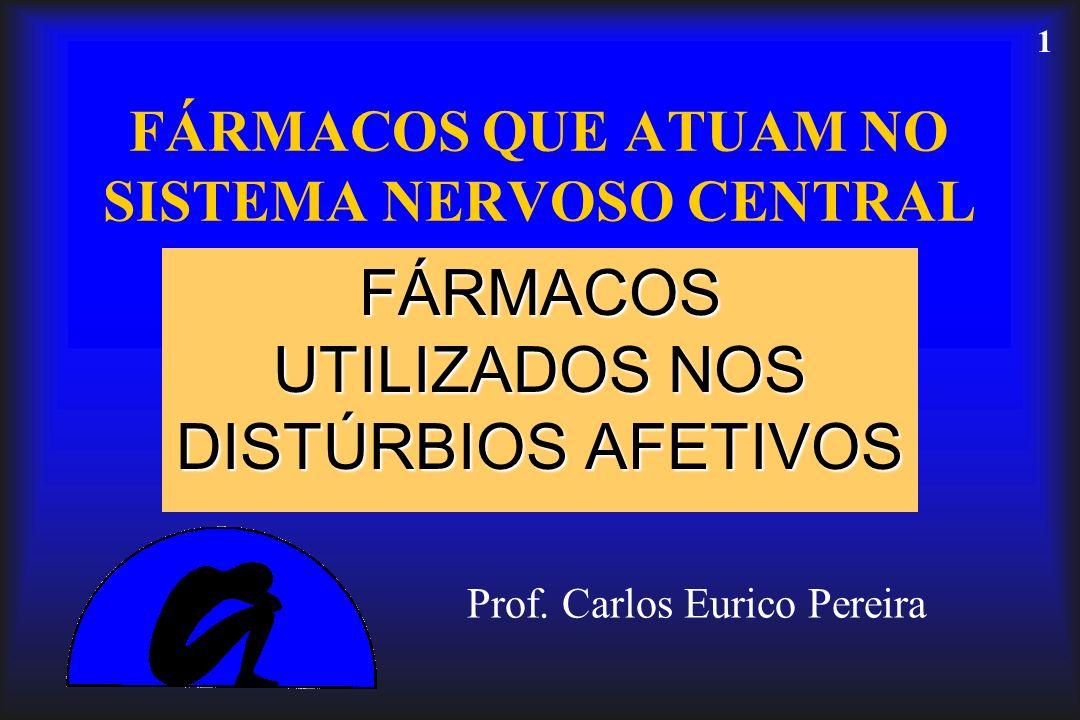 1 FÁRMACOS QUE ATUAM NO SISTEMA NERVOSO CENTRAL FÁRMACOS UTILIZADOS NOS DISTÚRBIOS AFETIVOS Prof. Carlos Eurico Pereira