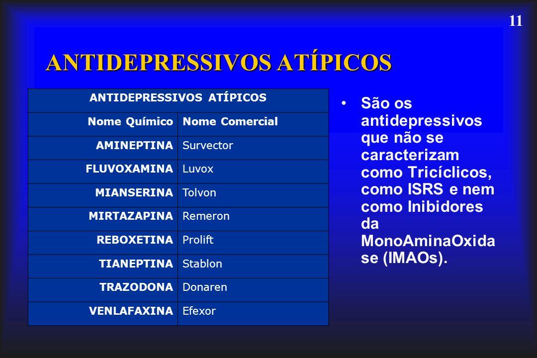 11 ANTIDEPRESSIVOS ATÍPICOS São os antidepressivos que não se caracterizam como Tricíclicos, como ISRS e nem como Inibidores da MonoAminaOxida se (IMA