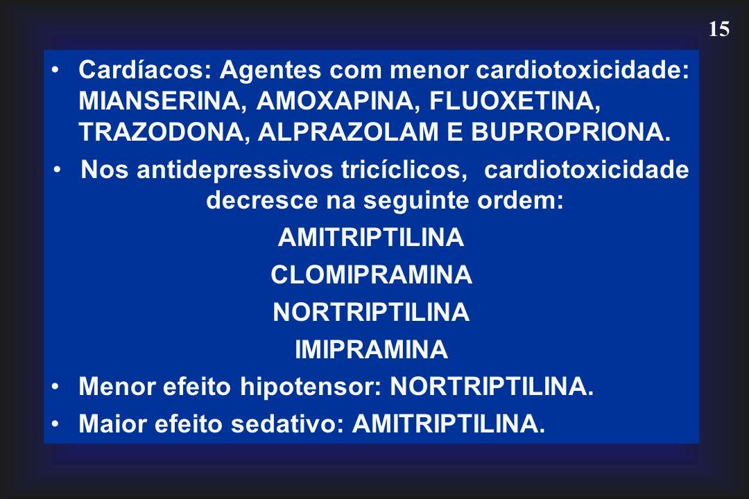 15 Cardíacos: Agentes com menor cardiotoxicidade: MIANSERINA, AMOXAPINA, FLUOXETINA, TRAZODONA, ALPRAZOLAM E BUPROPRIONA. Nos antidepressivos tricícli