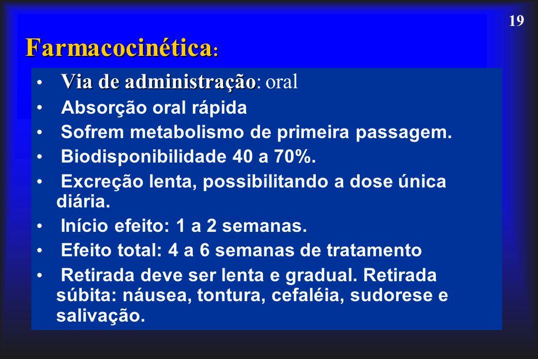 19 Farmacocinética : Via de administração Via de administração: oral Absorção oral rápida Sofrem metabolismo de primeira passagem. Biodisponibilidade