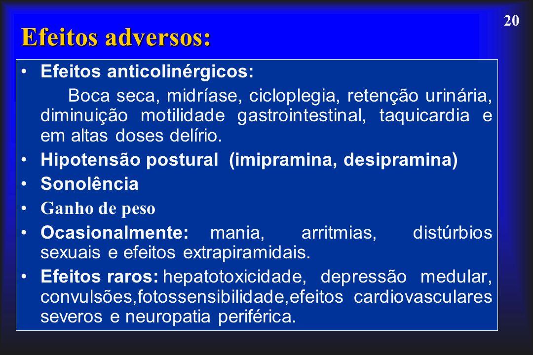 20 Efeitos adversos: Efeitos anticolinérgicos: Boca seca, midríase, cicloplegia, retenção urinária, diminuição motilidade gastrointestinal, taquicardi