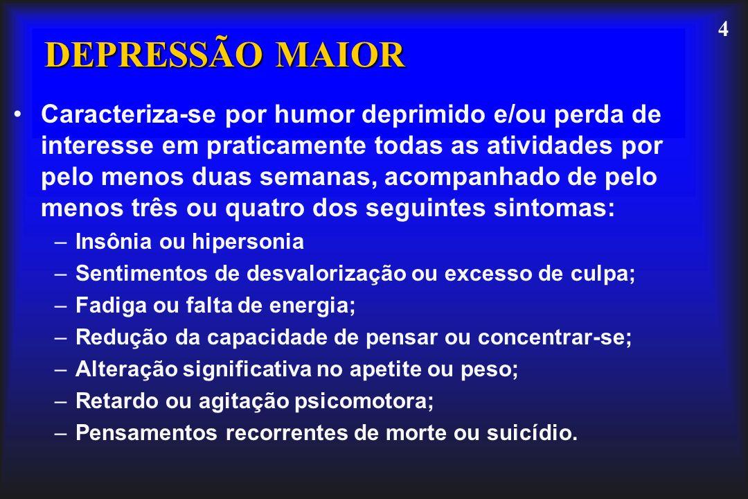 4 DEPRESSÃO MAIOR Caracteriza-se por humor deprimido e/ou perda de interesse em praticamente todas as atividades por pelo menos duas semanas, acompanh