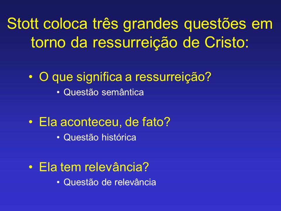 Stott coloca três grandes questões em torno da ressurreição de Cristo: O que significa a ressurreição? Questão semântica Ela aconteceu, de fato? Quest