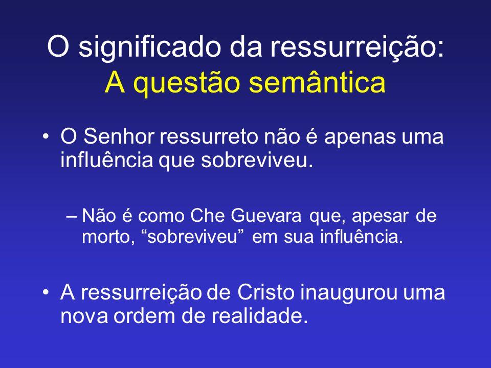 O significado da ressurreição: A questão semântica O Senhor ressurreto não é apenas uma influência que sobreviveu. –Não é como Che Guevara que, apesar