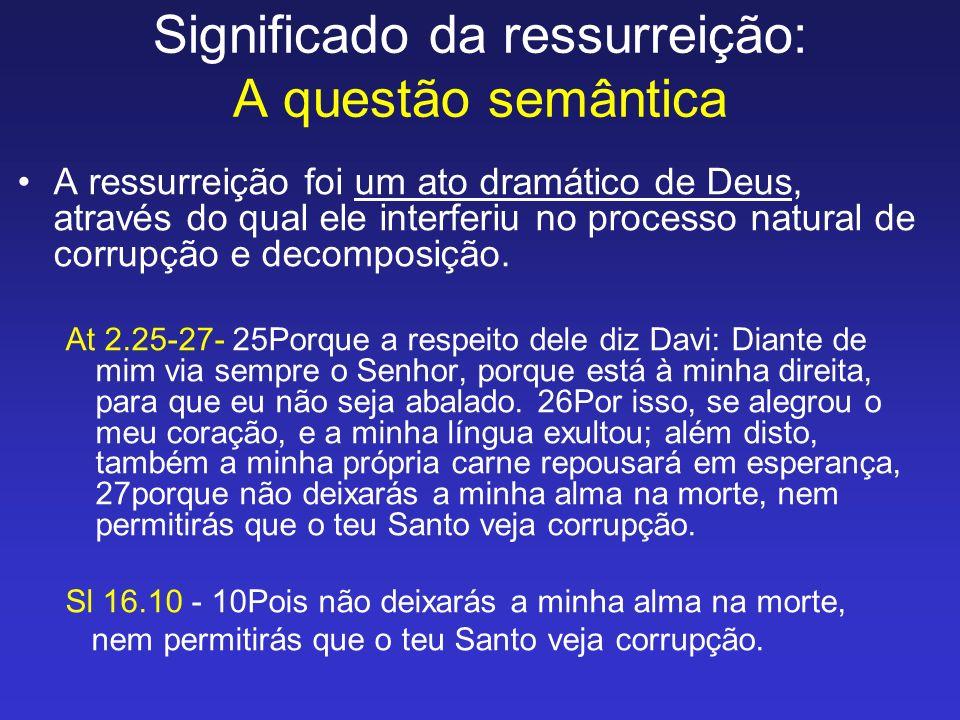 Significado da ressurreição: A questão semântica A ressurreição foi um ato dramático de Deus, através do qual ele interferiu no processo natural de co
