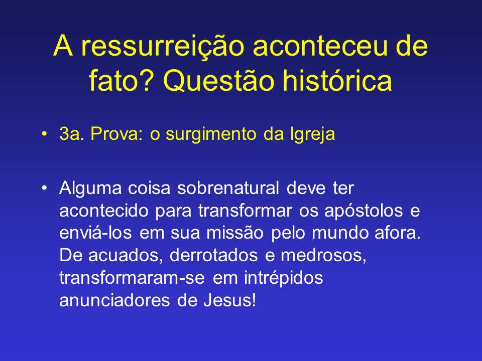 A ressurreição aconteceu de fato? Questão histórica 3a. Prova: o surgimento da Igreja Alguma coisa sobrenatural deve ter acontecido para transformar o