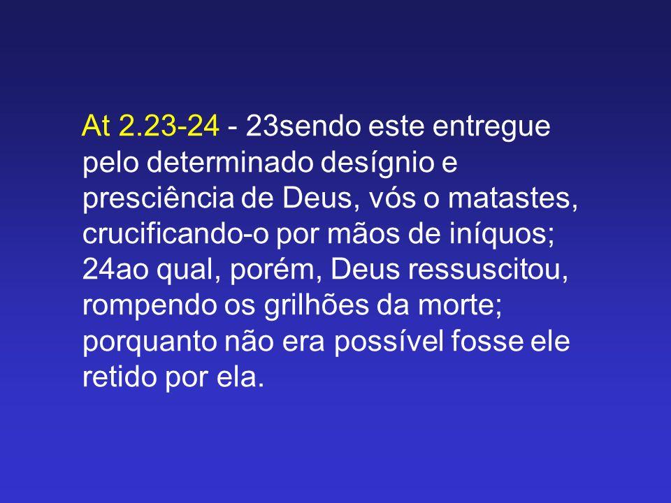At 2.23-24 - 23sendo este entregue pelo determinado desígnio e presciência de Deus, vós o matastes, crucificando-o por mãos de iníquos; 24ao qual, por