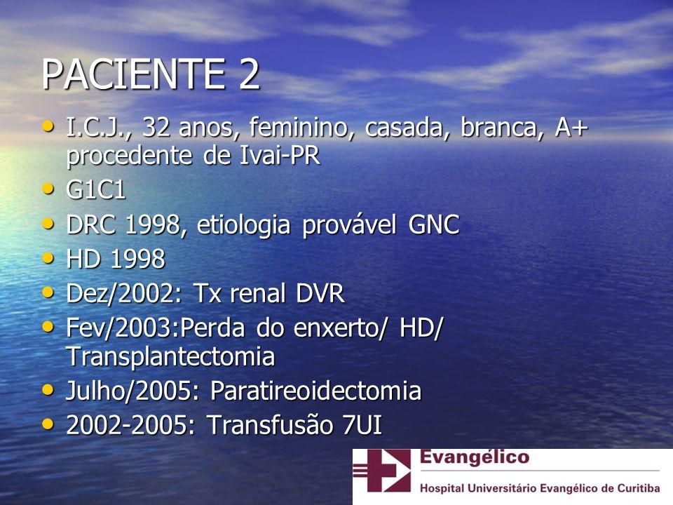 PACIENTE 2 I.C.J., 32 anos, feminino, casada, branca, A+ procedente de Ivai-PR I.C.J., 32 anos, feminino, casada, branca, A+ procedente de Ivai-PR G1C