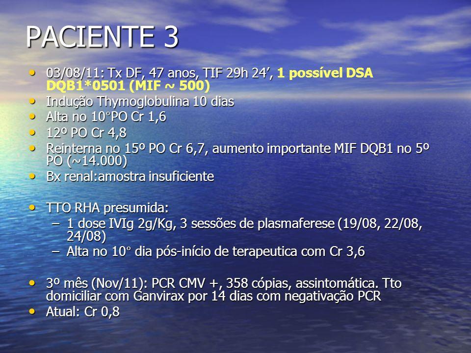 PACIENTE 3 03/08/11: Tx DF, 47 anos, TIF 29h 24, 03/08/11: Tx DF, 47 anos, TIF 29h 24, 1 possível DSA DQB1*0501 (MIF ~ 500) Indução Thymoglobulina 10