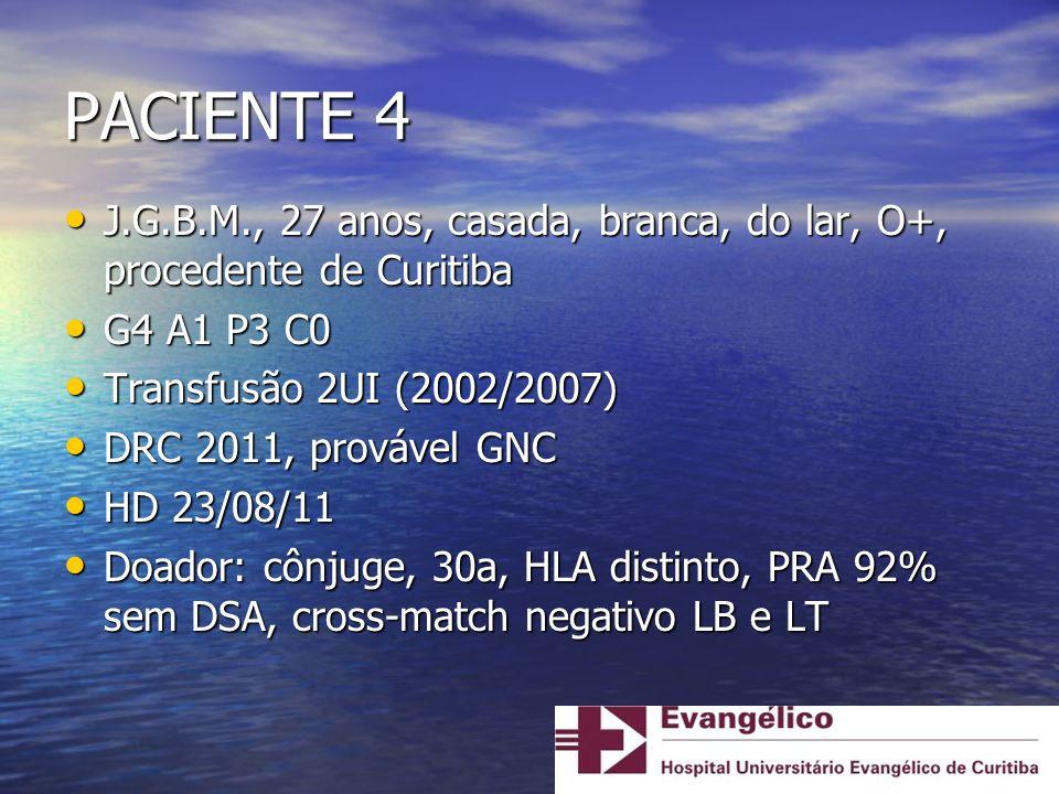 PACIENTE 4 J.G.B.M., 27 anos, casada, branca, do lar, O+, procedente de Curitiba J.G.B.M., 27 anos, casada, branca, do lar, O+, procedente de Curitiba