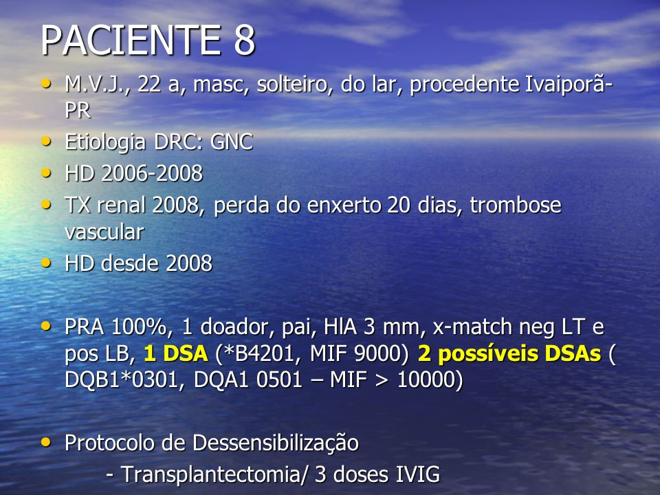 PACIENTE 8 M.V.J., 22 a, masc, solteiro, do lar, procedente Ivaiporã- PR M.V.J., 22 a, masc, solteiro, do lar, procedente Ivaiporã- PR Etiologia DRC: