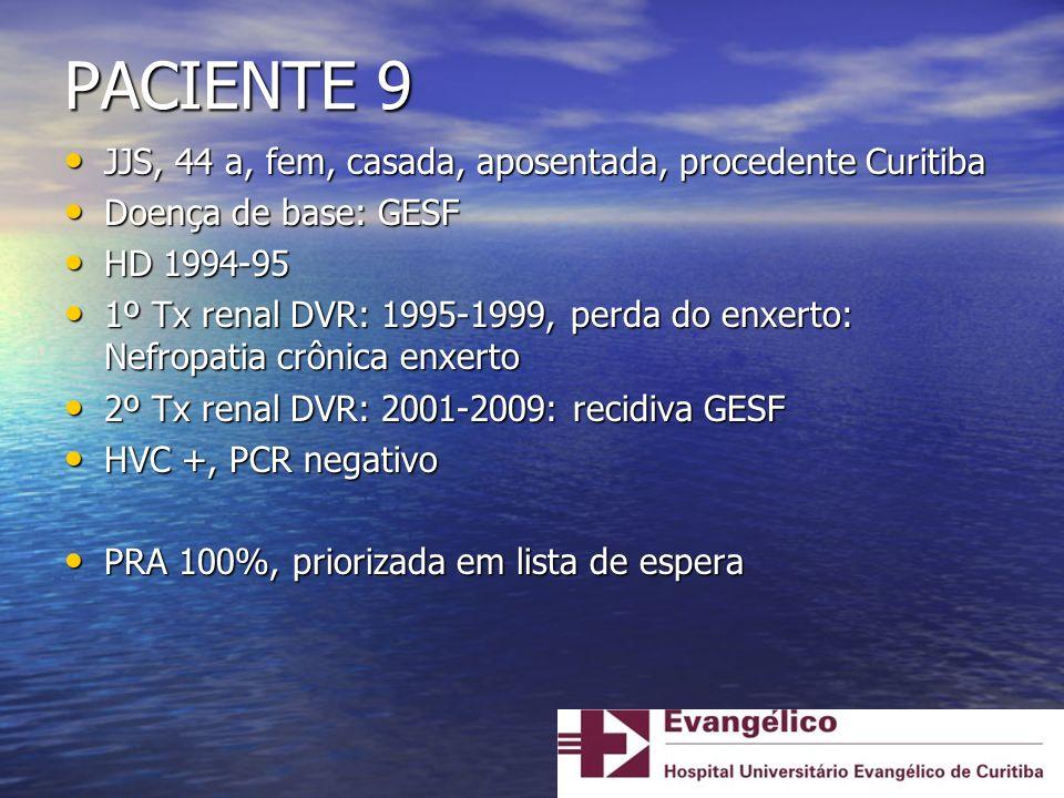 PACIENTE 9 JJS, 44 a, fem, casada, aposentada, procedente Curitiba JJS, 44 a, fem, casada, aposentada, procedente Curitiba Doença de base: GESF Doença