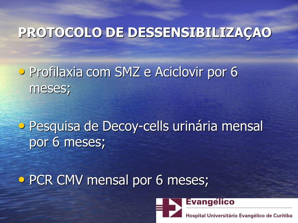 PACIENTE 5 M.P.C.S., 43 anos, feminina, casada, professora aposentada, procedente de Curitiba M.P.C.S., 43 anos, feminina, casada, professora aposentada, procedente de Curitiba G1C1 G1C1 Doença de base: LES Doença de base: LES IRC/CAPD 2002-2004; HD desde 2009 IRC/CAPD 2002-2004; HD desde 2009 > 10 transfusões sangüíneas > 10 transfusões sangüíneas PRA 92%, 1 possível doador, conjuge, HLA 4 mm, 3 DSAs (classe I – B*13:02 MIF > 5000; A*24:02 e classe II – DRB1*07:01) PRA 92%, 1 possível doador, conjuge, HLA 4 mm, 3 DSAs (classe I – B*13:02 MIF > 5000; A*24:02 e classe II – DRB1*07:01) Protocolo de Dessensibilização Protocolo de Dessensibilização - 3 doses de IVIg 2g/Kg/dose