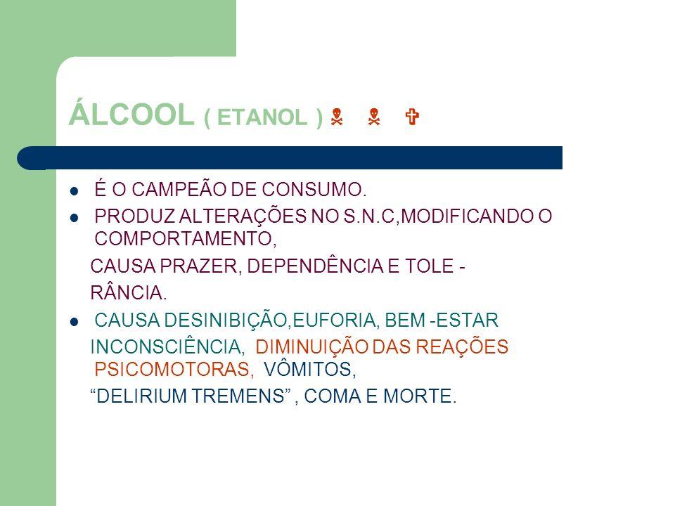 ÁLCOOL ( ETANOL ) É O CAMPEÃO DE CONSUMO. PRODUZ ALTERAÇÕES NO S.N.C,MODIFICANDO O COMPORTAMENTO, CAUSA PRAZER, DEPENDÊNCIA E TOLE - RÂNCIA. CAUSA DES