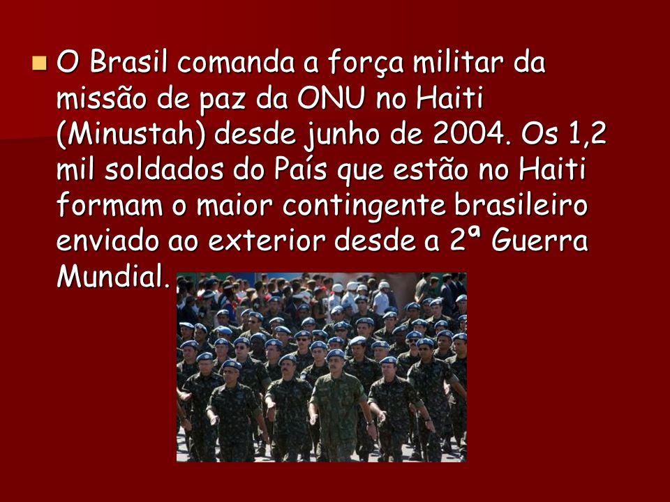 O Brasil comanda a força militar da missão de paz da ONU no Haiti (Minustah) desde junho de 2004.