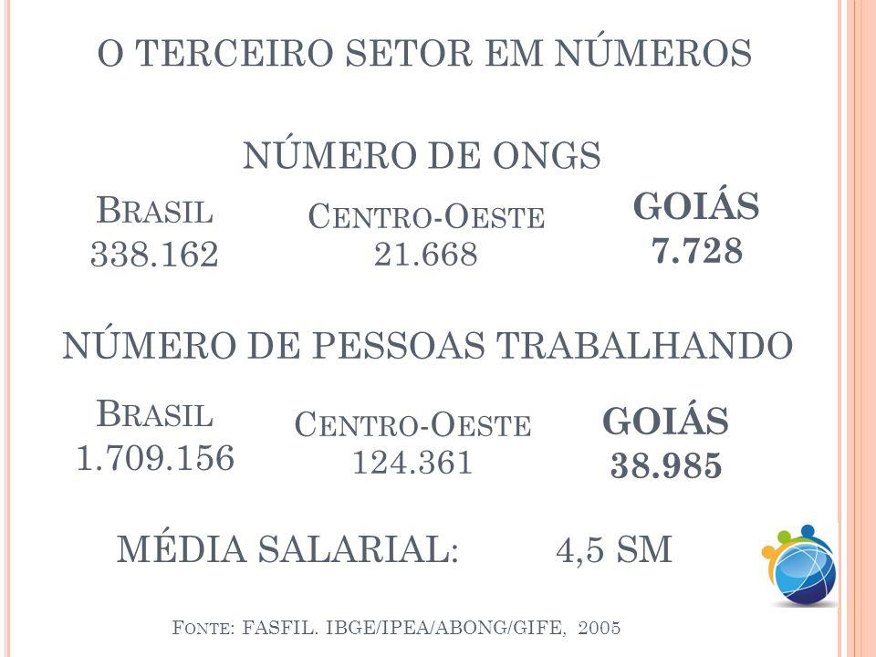 O TERCEIRO SETOR EM NÚMEROS ONGs representam 5% do PIB do Brasil PNUD-2010 Nos EUA representam 7% do PIB e 9% da mão-de-obra PNUD-2010 No Reino Unido representa 4% do PIB PNUD-2010 Na França representa 6% da mão-de-obra PNUD-2010
