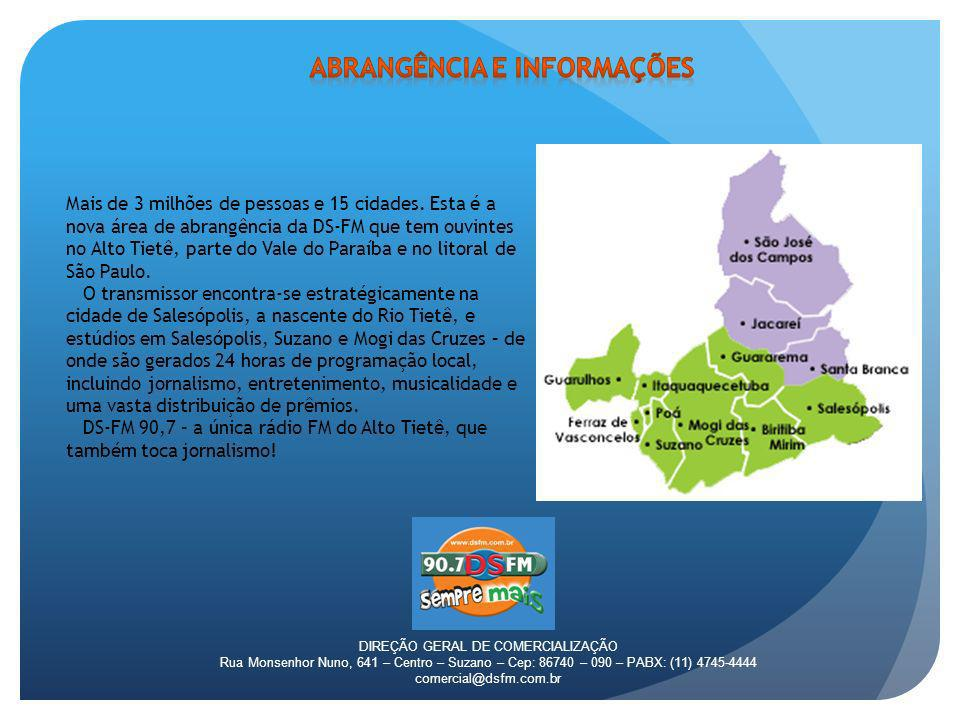 DIREÇÃO GERAL DE COMERCIALIZAÇÃO Rua Monsenhor Nuno, 641 – Centro – Suzano – Cep: 86740 – 090 – PABX: (11) 4745-4444 comercial@dsfm.com.br Mais de 3 m