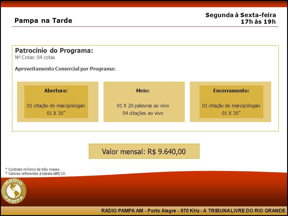 RÁDIO PAMPA AM - Porto Alegre - 970 KHz - A TRIBUNA LIVRE DO RIO GRANDE Patrocínio do Programa: Nº Cotas: 04 cotas Aproveitamento Comercial por Progra
