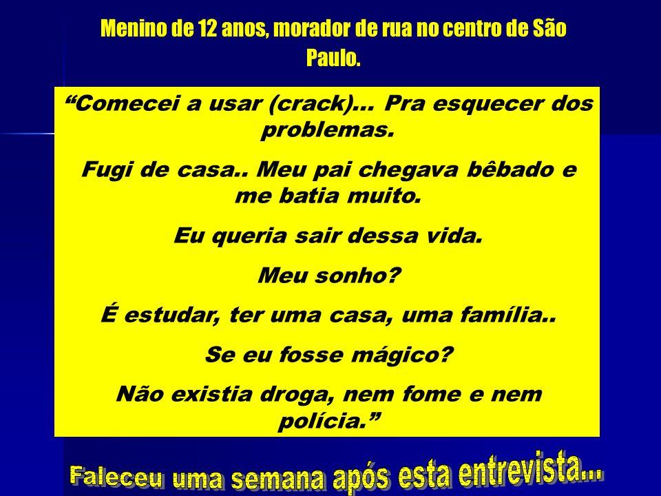 Novembro, 1979Agosto, 1980Junho, 1982Maio, 1986Janeiro, 1988 Janeiro, 1989 Dos brasileiros, 11,6% com mais de 12 anos já usaram drogas... De cada dez