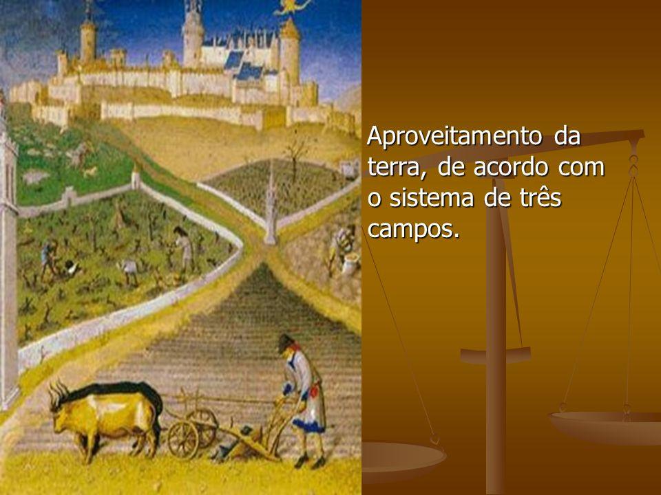 Aproveitamento da terra, de acordo com o sistema de três campos.