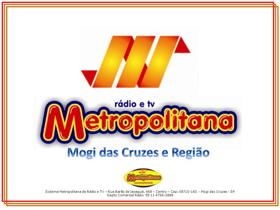 Sistema Metropolitana de Rádio e TV – Rua Barão de Jaceguai, 468 – Centro – Cep: 08710-160 - Mogi das Cruzes - SP Depto Comercial Rádio 55 11 4799-2888