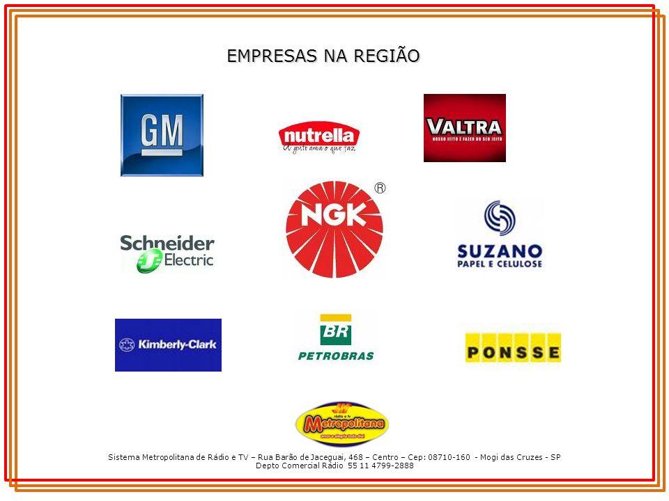 Sistema Metropolitana de Rádio e TV – Rua Barão de Jaceguai, 468 – Centro – Cep: 08710-160 - Mogi das Cruzes - SP Depto Comercial Rádio 55 11 4799-2888 EMPRESAS NA REGIÃO