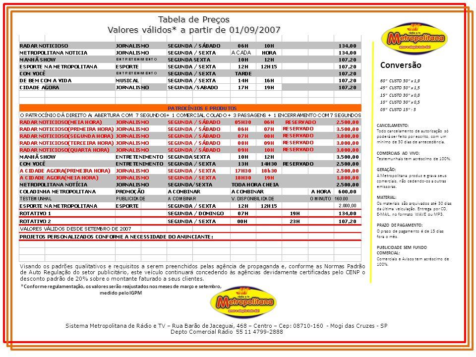 Sistema Metropolitana de Rádio e TV – Rua Barão de Jaceguai, 468 – Centro – Cep: 08710-160 - Mogi das Cruzes - SP Depto Comercial Rádio 55 11 4799-2888 Tabela de Preços Valores válidos* a partir de 01/09/2007 Conversão CANCELAMENTO: Todo cancelamento de autorização só poderá ser feito por escrito, com um mínimo de 30 dias de antecedência.