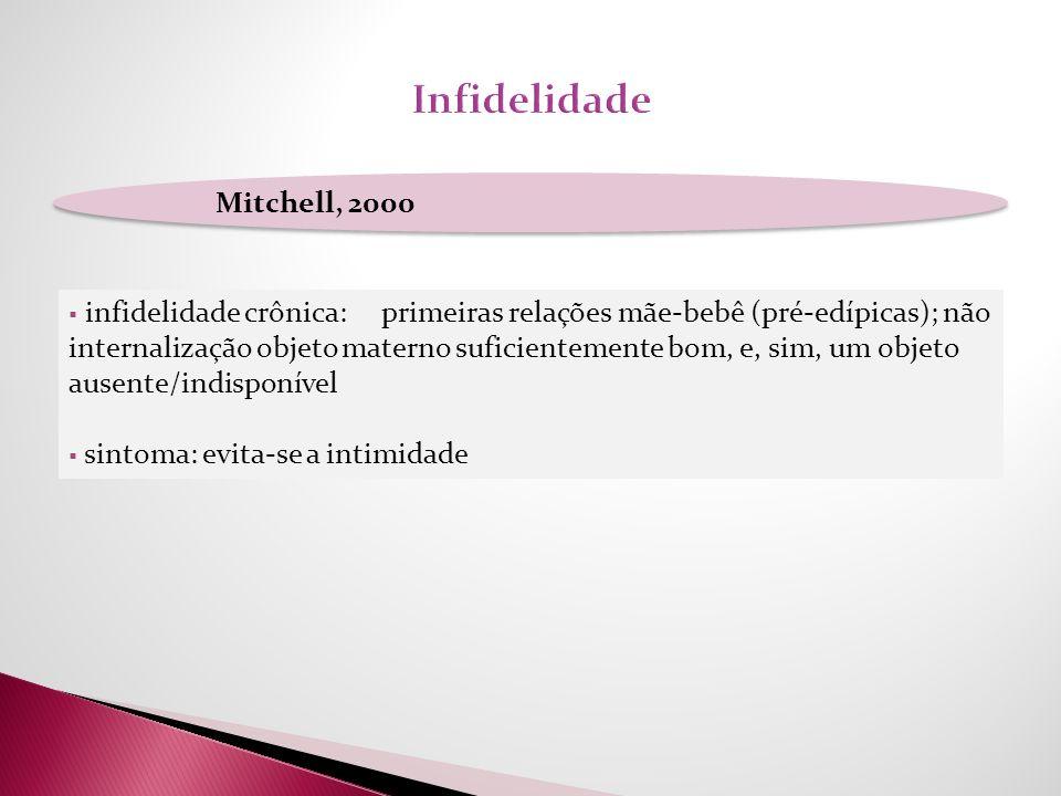 Mitchell, 2000 infidelidade crônica: primeiras relações mãe-bebê (pré-edípicas); não internalização objeto materno suficientemente bom, e, sim, um obj