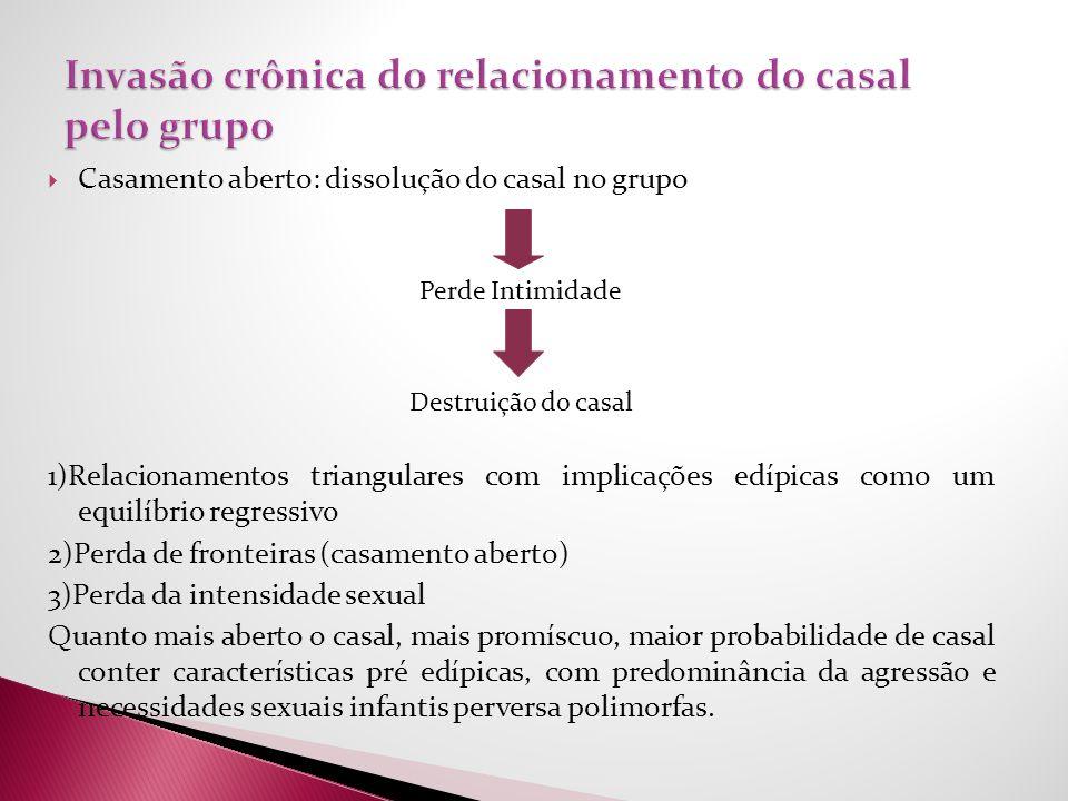 Casamento aberto: dissolução do casal no grupo Perde Intimidade Destruição do casal 1)Relacionamentos triangulares com implicações edípicas como um eq